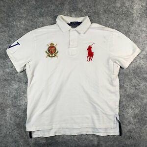 Ralph Lauren Polo Shirt Mens Large White County Rider Jockey Club Big Pony O1