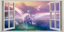 """Pink Unicorn Fantasy Wall Art 16""""x20"""" Canvas Picture 3D Window Effect Kids Room"""