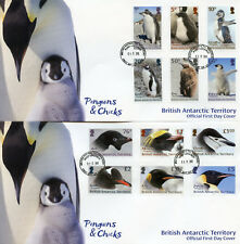 BAT Brit Antarctic Ter 2018 FDC Penguins Definitives 12v / 2 Covers Birds Stamps
