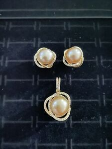 Golden South Sea Pearl Set Not Dyed 925 Setting
