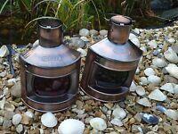 Ships Port Side & Starboard Copper Lanterns -Lamp Portside Masthead Red Green NE