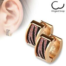 Pair of Stainless Steel Earrings Pink Zebra Sand Sparkle Hinged Hoop H118