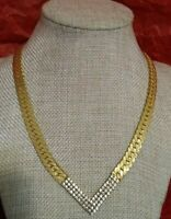 Vtg Park Lane Herringbone Goldtone Necklace Rhinestone V Center Foldover Clasp