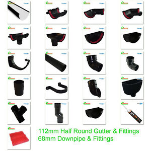 Half Round Guttering - Downpipes - Fittings. Freeflow 112mm Black Guttering