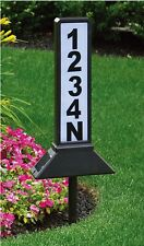 Solar Address Sign Plaque Stake LED Light House Number Post Yard Outdoor Powered