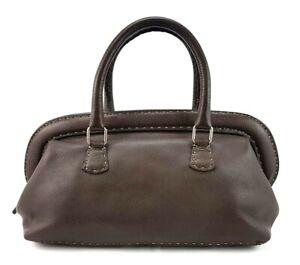 Vintage Fendi Selleria Brown Purse Doctor Handbag Made In Italy