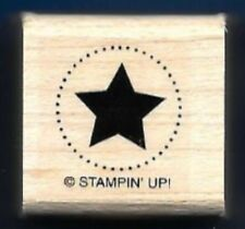 SOLID STAR DOTS SEAL Circle Gift Tag Post Stampin' Up! Teacher wood RUBBER STAMP