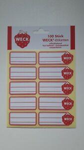 100 WECK Etiketten für Einkoch-Einmachgläser Weckgläser Marmelade Konfitüreglas