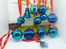 12 2-6cm 1970s BLUE vintage baubles, plastic, glass, spun silk, bell Christmas