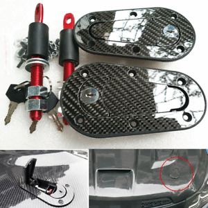 Carbon Fiber Car Bonnet Plus Flush Mount Hood Latch Steel Pin Locking Kit w/ Key