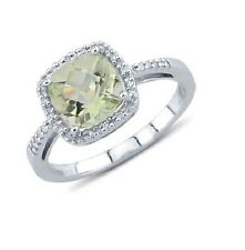 14K WHITE GOLD PAVE DIAMOND GREEN AMETHYST CUSHION CUT HALO ENGAGEMENT HALO RING
