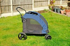 PawHut Dog Stroller 4 Wheels Foldable Pet Trolley (Medium/Large Dogs) Blue