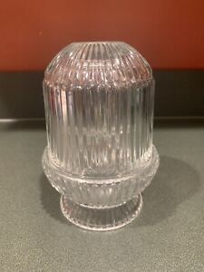 """Vtg Homco FAIRY LAMP Crystal Clear Ribbed Stripe Glass Candle Holder 6.5"""" Tall"""