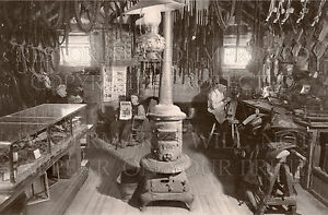 8x12 photo of a saddlemaker working in a harness shop in Montana MT, western USA