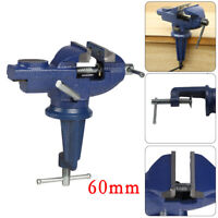 60mm MINI SWIVEL BENCH CLAMP Small Table Top Vice Rotating Base Flat Jaw UK