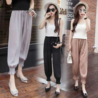 Summer Women Ladies Loose Chiffon Elastic Waist Harem Casual Pants Long Trousers