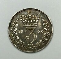 Dated : 1840 - Silver Coin - Threepence - 3d - Queen Victoria - Great Britain