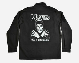 MISFITS Walk Among Us Shirt Button Zip Military Fiend Skull Gothic Punk NWOT L
