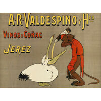 Champenois Valdespino Sherry Monkey Pelican Advert Canvas Art Print Poster