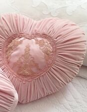 Shabby Chic French Country Cushion / Throw Pillow Pink Heart Velvet +Lace
