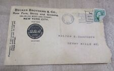 Vintage Becker Brothers Trapping Envelope 1912 Good post mark New York >
