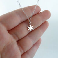 Tiny Snowflake Charm Pendant Women's Stylish Necklace In 925 Sterling Silver