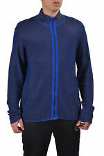 Versace Collection Men's Blue Striped Full Zip Cardigan Sweater US M IT 50