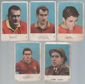 Figurine Calcio Cartonate EDI E.D.I.1962/63 Calciatori Roma 5 diverse