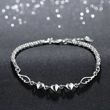 Charm Jewelry Pendant Silver Plated Bead Love Heart  Women Bracelets
