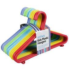 40pk Kids Plastic Clothes Hangers Coat Garment Hook Lips Storage Rainbow Colour
