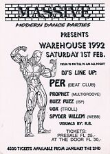 WAREHOUSE 1992 Rave Flyer Flyers A6 1/2/92 Amsterdam Netherlands Illegal Rare