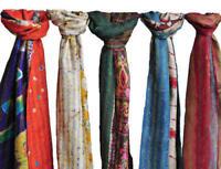 Kantha Stole Hand Pure Silk Scarf Vintage Handmade Indian Shawl Lot  Dupatta
