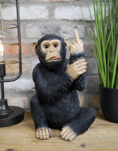Up Yours' Monkey Funny Unique Figurine Home Ornament Funky Accessory Resin