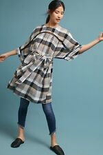 NWT Anthropologie Maeve Gray Beige Plaid Boho Tie Waist Kimono Tunic Dress L