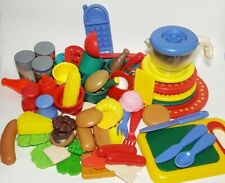 Vintage 90s Toy Kitchen Dishes Play Plastic Tea Set & Food Mixed Lot 69 Pieces