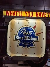 vintage pabst blue ribbon clock 1950's lighted working old nice Bar Man Cave