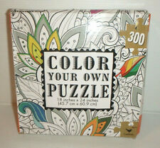 """Color Your Own Jigsaw Puzzle FLORAL LEAVES - 18"""" x 24"""" 300 Pcs / NEW"""