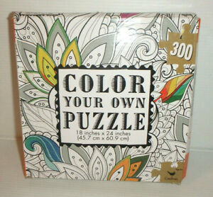"Color Your Own Jigsaw Puzzle FLORAL LEAVES - 18"" x 24"" 300 Pcs / NEW"