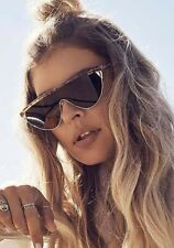 f7bec4c8809 NEW Quay Australia x Elle Ferguson Goldie Shield Brown Oversized Sunglasses