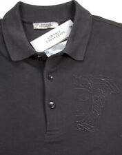 NEWT$ BLACK COTTON POLO PIQUET  BLK MEDUSA EMBROIDERY 100% AUTH VERSACE SHIRT L
