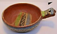 Mexican Redware Vintage Handled Pottery Bowl