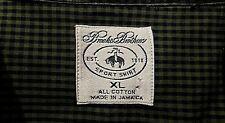 Brooks Brothers Sport Shirt Mens Button Down Short Sl Green/Blue Check Xl (A9018