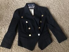 Guess Crop Blazer Size S Navy Blue Gold Buttons Military NEW 3/4 Sleeves Stretch