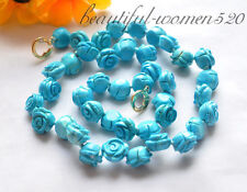 z4861 12mm blue hand engraving turquoise rose flower necklace 19inch