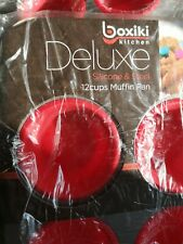 New Boxiki Kitchen Deluxe Silicon & Steel 12 Cup Muffin Pan