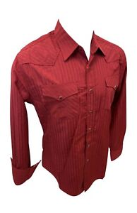 Mens RODEO WESTERN RED 2 POCKETS Long Sleeve Woven SNAP UP Shirt Cowboy 504 NWT