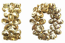 1 STERLING SILVER SPACER BEAD + FLOWER DESIGN & LARGE HOLE, GOLD PLATE, 7 X 3 MM