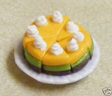Sliced Cake on A Ceramic Plate Doll House Miniature