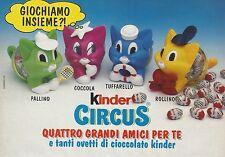 X7440 Kinder Circus - 4 grandi amici per te - Pubblicità del 1992 - Vintage ad