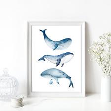 Ken Roko Ocean Whale III Keilrahmen-Bild Leinwand Wal blau Meerestier